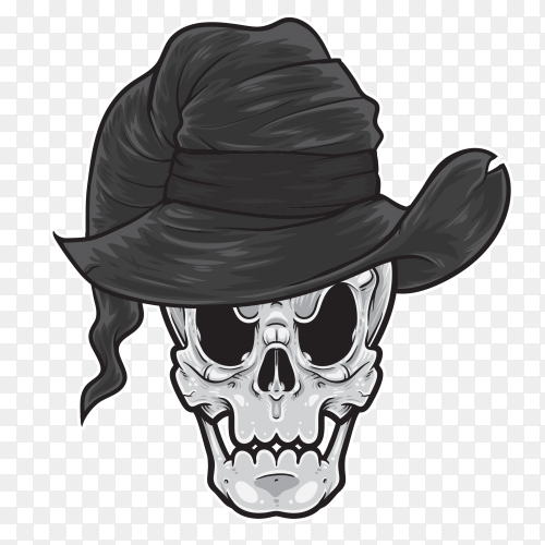 Skull witch on transparent PNG