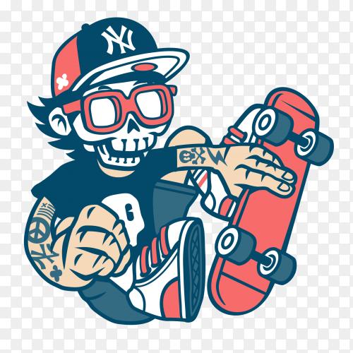 Skull with Skateboard premium vector PNG