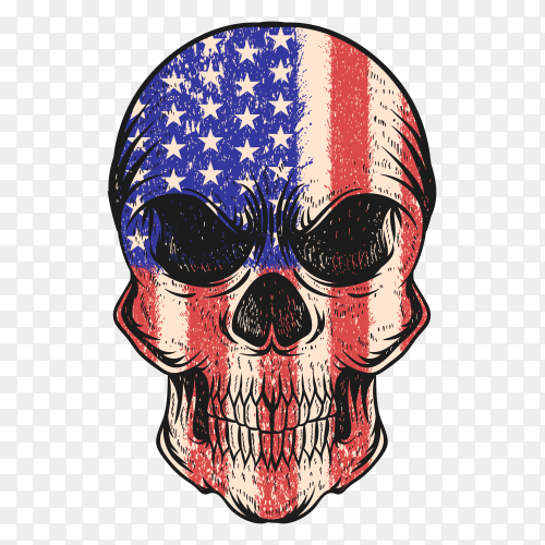 Skull with USA flag on transparent background PNG