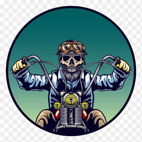 Skull with classic helmet beard riding motorcycle on transparent background PNG