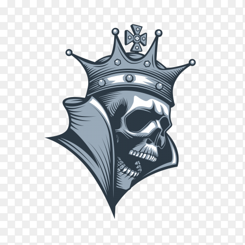 Skull with crown on transparent background PN