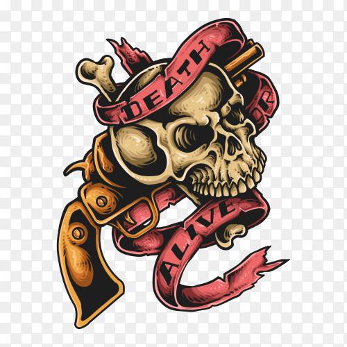 Skull with gun tattoo premium vector PNG
