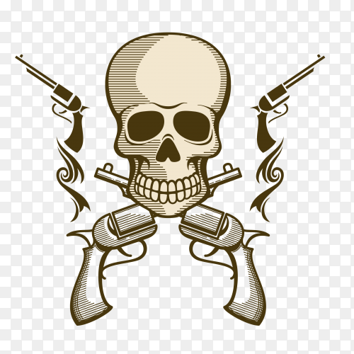 Skull with guns illustration on transparent background PNG