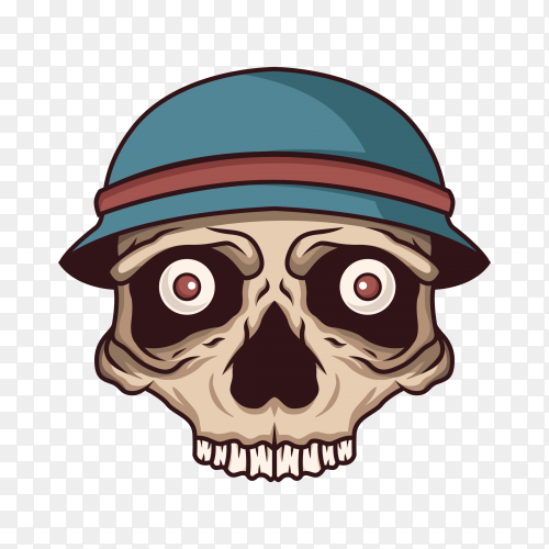Skull with hat on transparent PNG