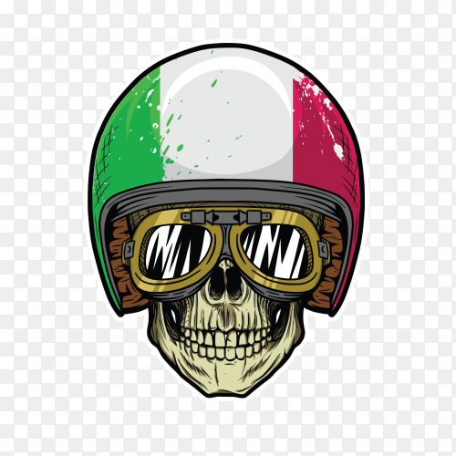 Skull with italian helmet and paige glass on transparent background PNG
