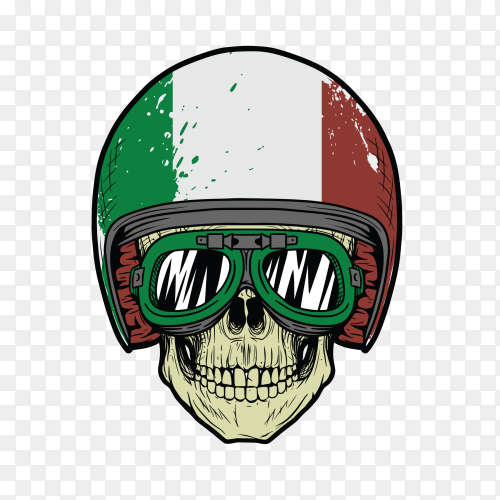 Skull with italian helmet with green glass on transparent background PNG