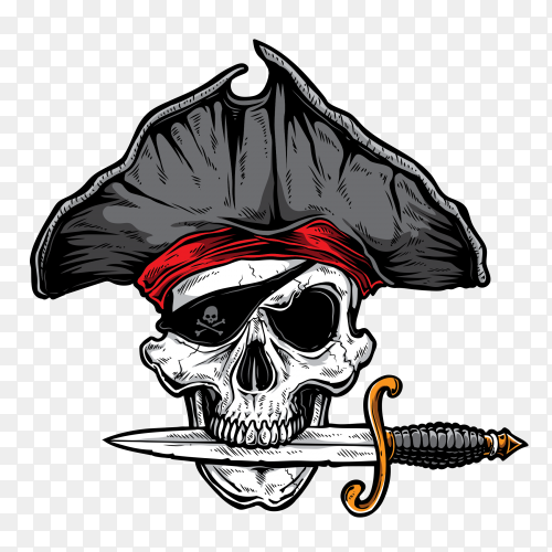 Skull with knife on transparent background PNG