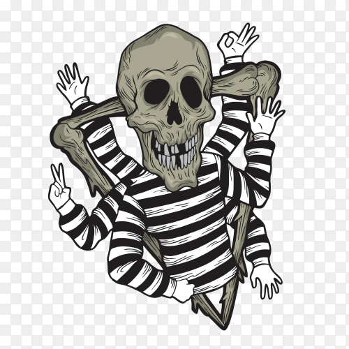 Skull with many hand on transparent background PNG