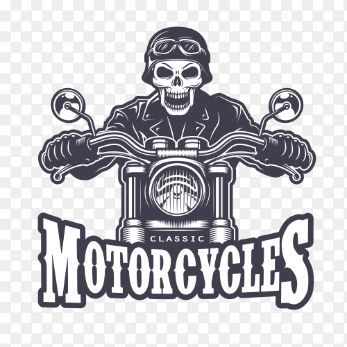 Skull with motorcycle design on transparent background PNG
