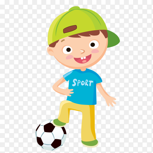 Smile boy playing football on transparent background PNG