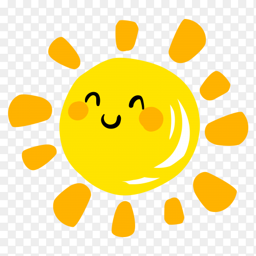 Smile sun cartoon Premium vector PNG