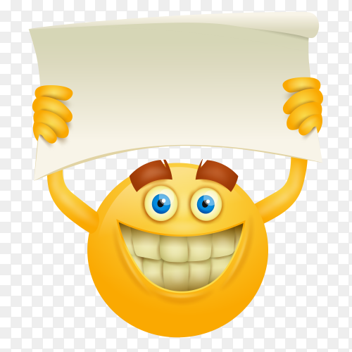 Smiley face emoji with placard on transparent background PNG