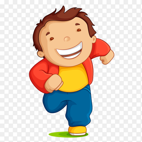Smiling boy running Premium vector PNG