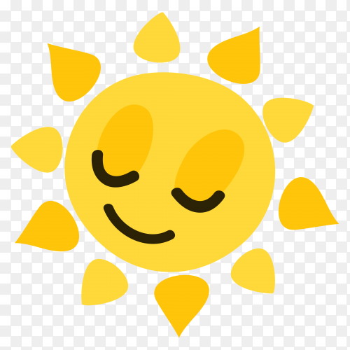 Smiling sun on transparent background PNG