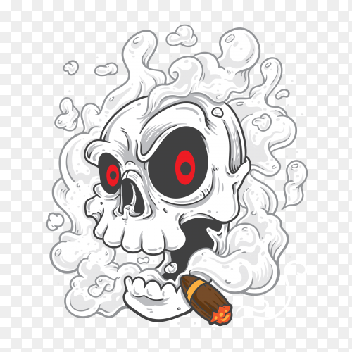 Smoke coming out of fleshless skull on transparent background PNG
