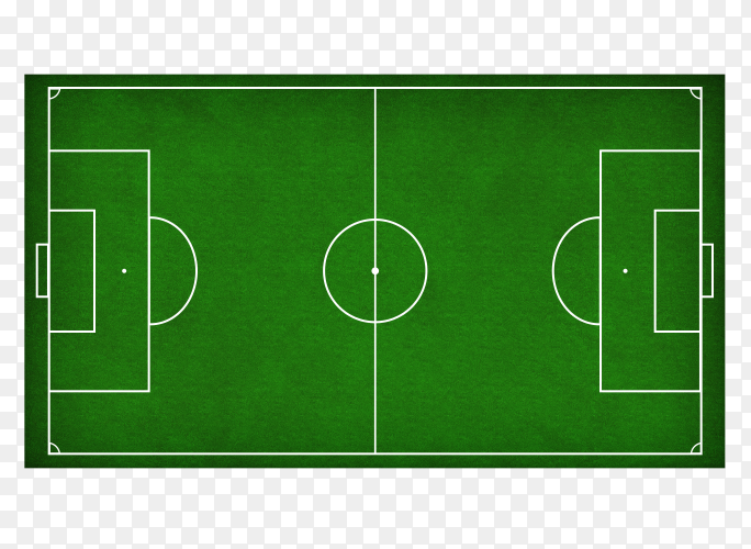 Soccer green field on transparent background PNG
