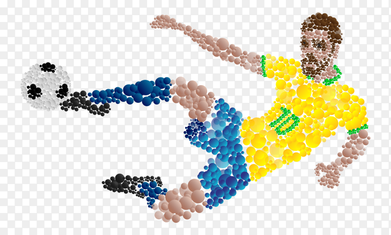 Soccer player kicking ball on transparent background PNG