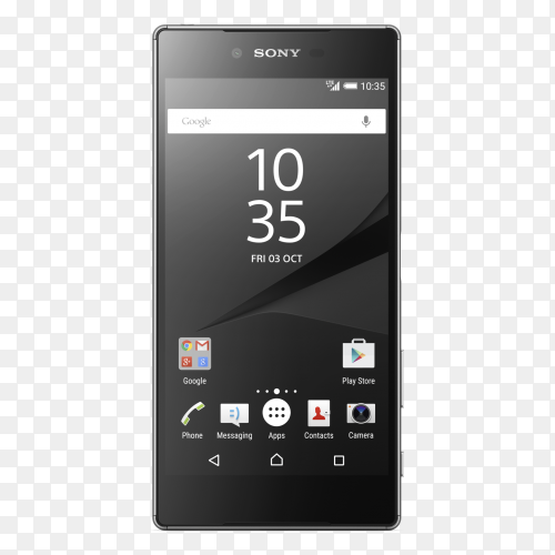 Sony Smartphone on transparent background PNG