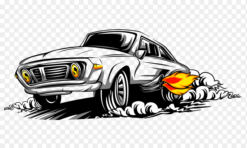 Speeding car illustration premium vector PNG