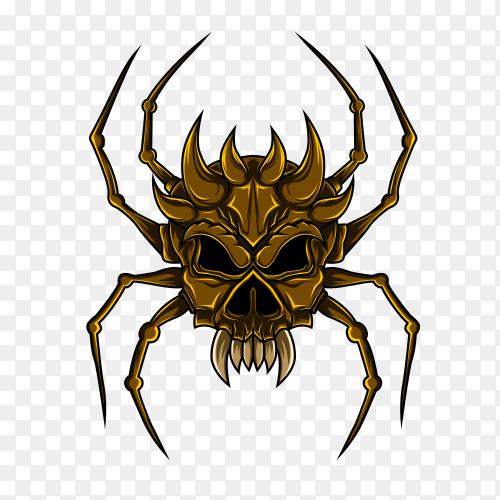 Spider skull Illustration on transparent background PNG