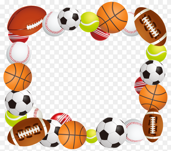 Sport balls collection on transparent background PNG