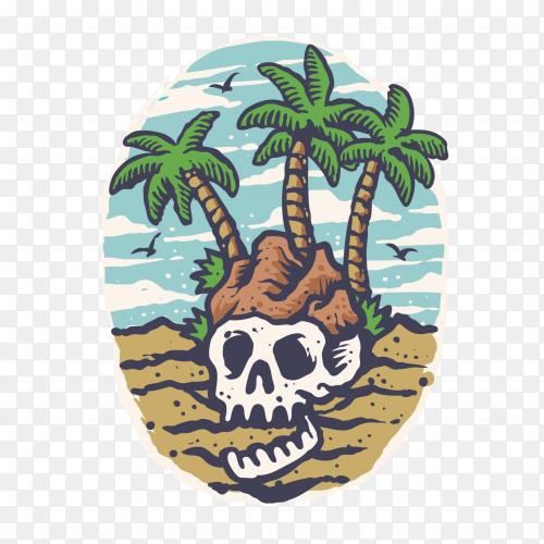 Summer Skull Island Cartoon Style T-Shirt Design on transparent background PNG