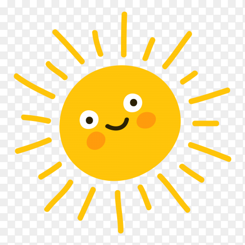 Sun smile icon on transparent background PNG