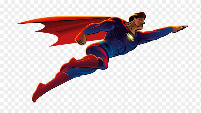 Superman flying on transparent background PNG