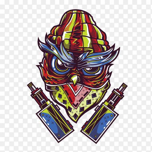 Swg gangsta owl on transparent background PNG