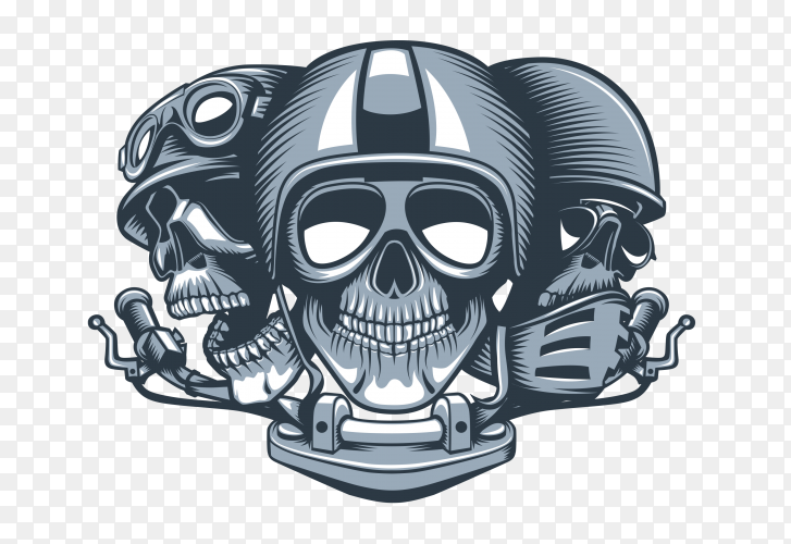 Three skulls riders wearing helmets on transparent background PNG
