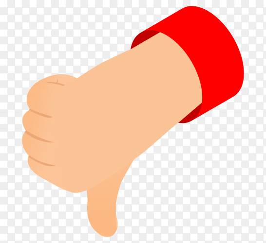 Thumbs down icon on transparent background PNG