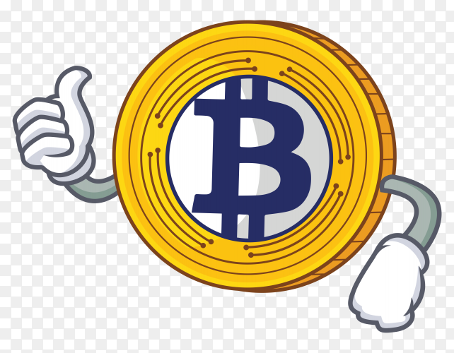 Thumbs up with board Bitcoin Gold character cartoon vector PNG