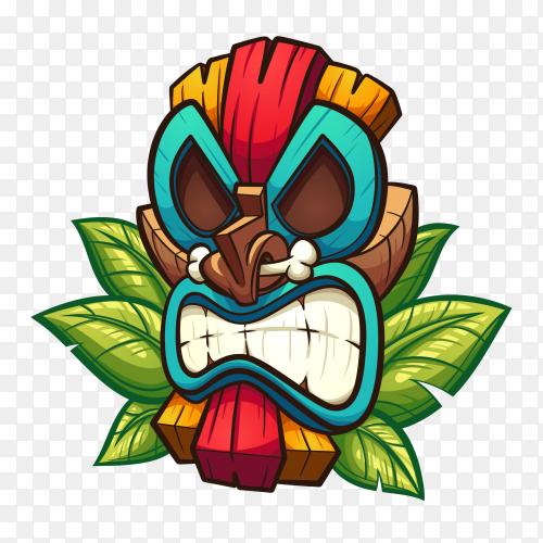 Tiki tribal wooden mask on transparent background PNG