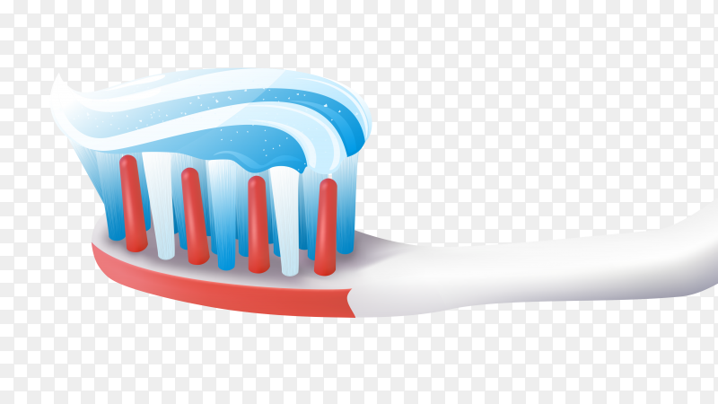 Tooth brush With Tooth paste Stock on transparent background PNG