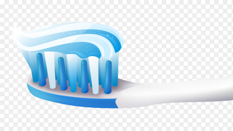 Tooth brush with Tooth paste Premium vector PNG