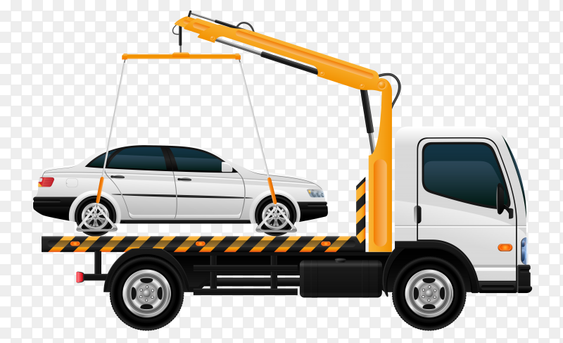Tow truck crying car on transparent background PNG