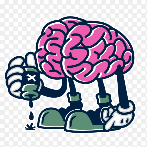Toxic mind character illustration on transparent background PNG