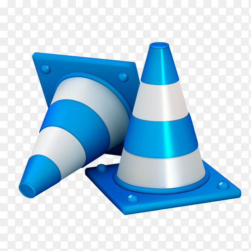 Traffic cones isolated on transparent background PNG
