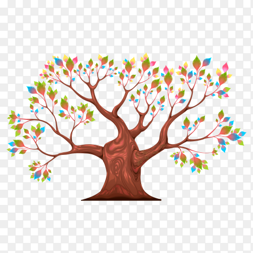 Tree with colorful leaves on transparent background PNG