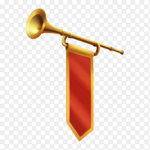 Trumpet with red flag on transparent background PNG