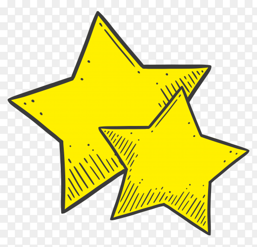Two yellow star Premium vector PNG
