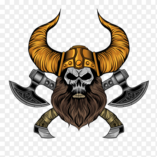 Viking beard skull with axes on transparent background PNG