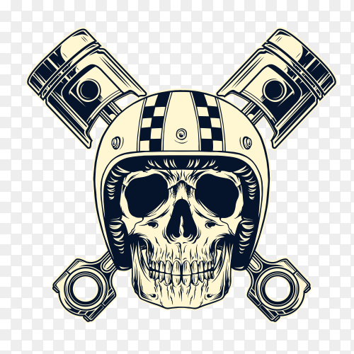 Vintage monochrome motorcyclist skull Clipart PNG