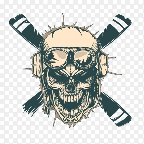 Vintage pilot skull  monochrome hand drawn tatoo style Premium Vector PNG