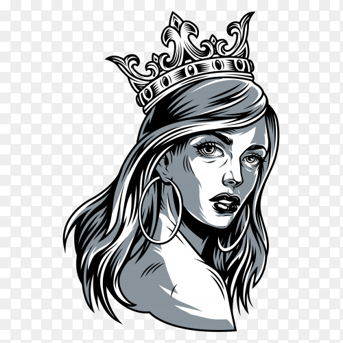 Vintage pretty woman wearing crown on transparent background PNG