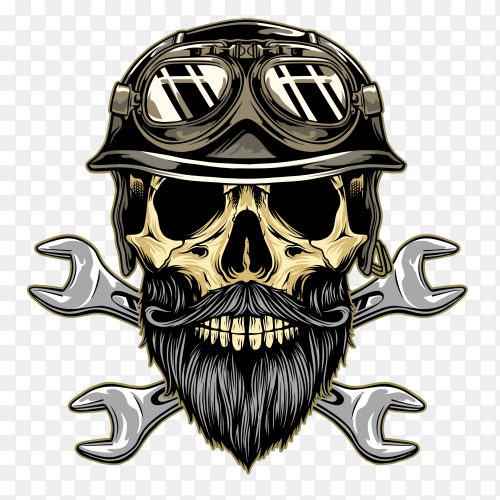 Vintage skull with helmet emblem on transparent PNG