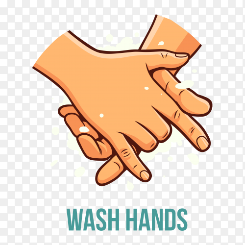 Wash hands poster on transparent background PNG