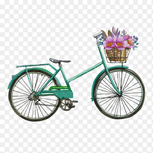 Watercolor bicycle with flowers on transparent background PNG