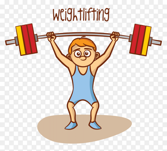 Weightlifting sport on transparent background PNG