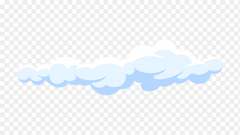 White cartoon cloud in blue sky on transparent background PNG